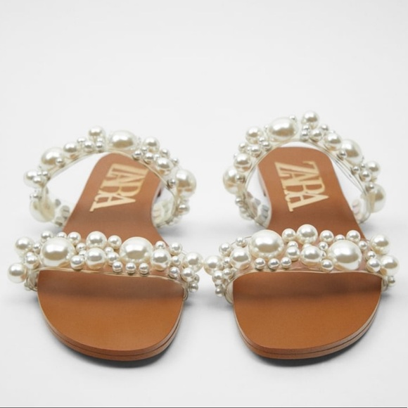 ZARA PEARL BEAD SANDALS Size 40 or 9